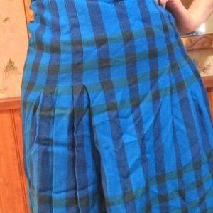 Vintage Teal Wool Skirt